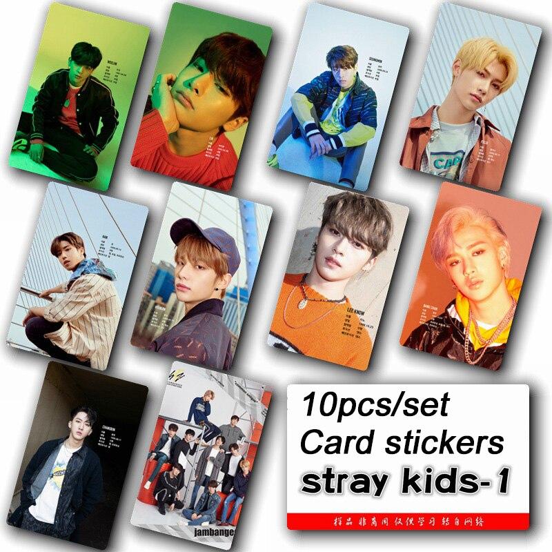 10pcs set Stray kids KPOP photo cards stickers album sticky adshesive kpop Stray kids lomo card photocard sticker SKD00601 in Stationery Set from Office School Supplies