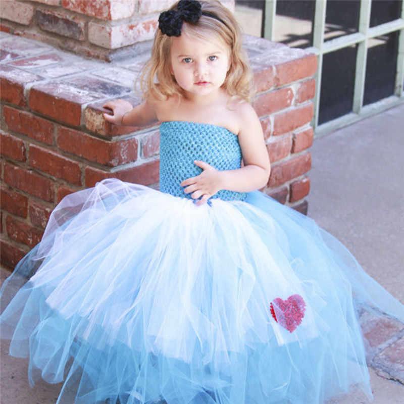 Платье Алисы принцессы высокого качества голубое платье-пачка для маленькой девочки косплей Элис в стране чудес Детские вечерние костюмы на Хэллоуин