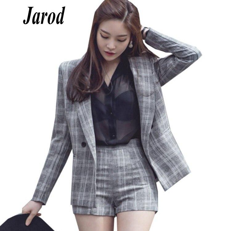 Women s Set 2018 Korean Fashion Autumn Blazer Suit Lapel Long Sleeve plaid Jacket Shorts Blazers