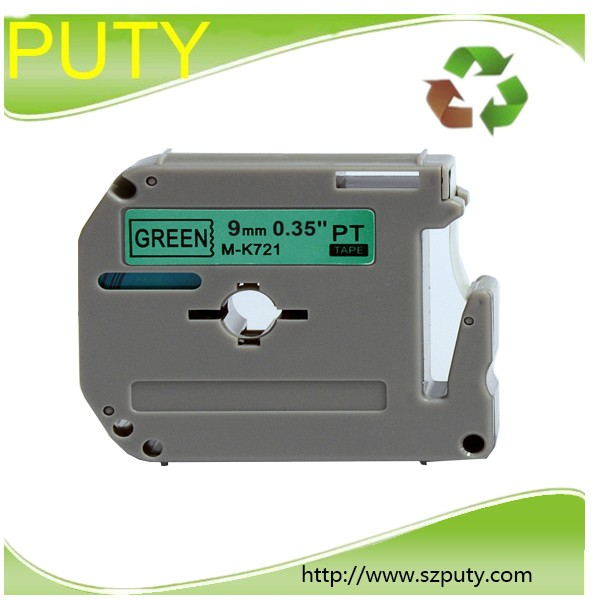 compatible for p touch thermal label printers 9mm black on green M tape MK721 M-K 721