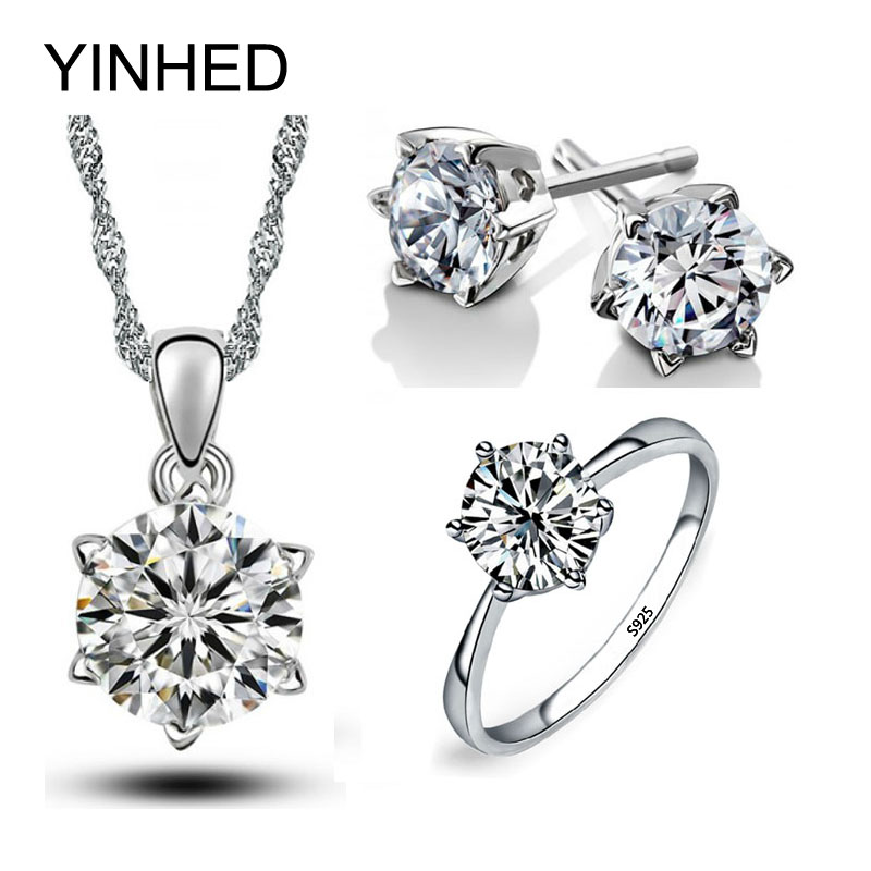 YINHED Real Solid 925 Sterling Silver Wedding Jewelry Sets 6mm 1 Carat Cubic Zircon Necklace Earrings