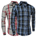 Man's Fashion Fall Winter Casual Plaid Shirt Long Sleeve Slim Fit Flannel Clothes Shirts