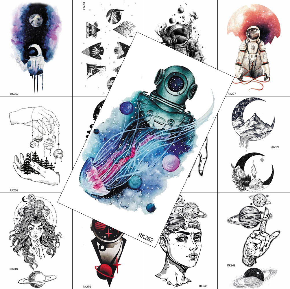 Watercolor Jellyfish Astronaut Temporary Tattoo Fake Waterpoof Realistic Planet Moon Start Sticker For Adult Body Art Arm Tattoo