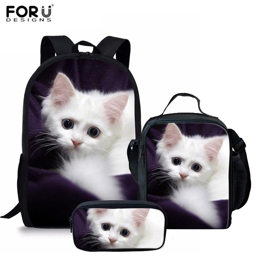FORUDESIGNS 3 unids/set Adorable gatito gato escuela bolsas para niñas africano Lobo escuela mochilas niños hombro Bookbag