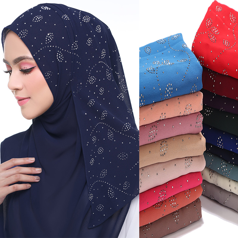 Image 1 - 10 pcs/lot Womens Bubble Chiffon Scarf crystal scarf hijab 