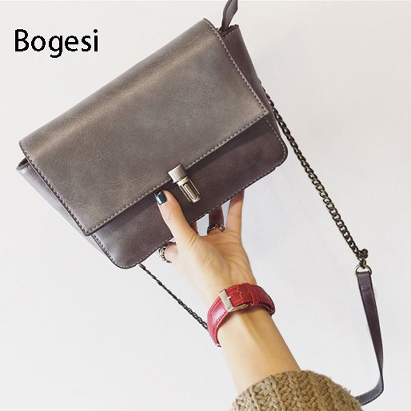 Bogesi New 2017 Women PU Leather Shoulder bag Women's Vintage Chain Strap Crossbody Bag Fashion Ladies Bag Female Messenger bag new punk fashion metal tassel pu leather folding envelope bag clutch bag ladies shoulder bag purse crossbody messenger bag