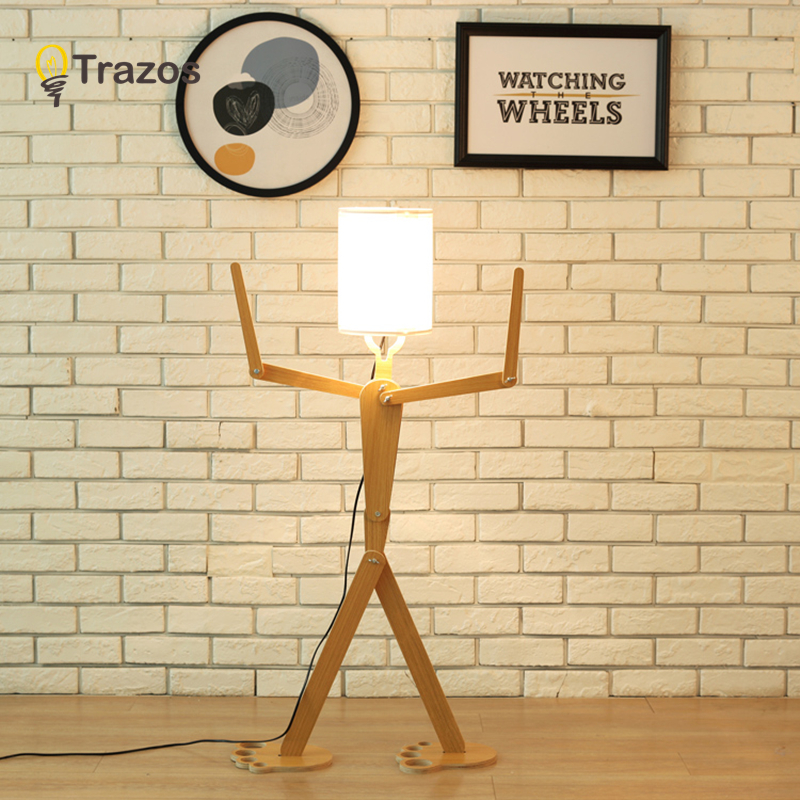TRAZOS DIY Wooden Floor Lamps E27 Log Fabric Stand Light Living Room Bedside Piano Reading Lamp Modern Decorative Lighting modern wooden floor lamps bookshelf floor stand lights tea table standing lamp living room bedroom locker nightstand lighting