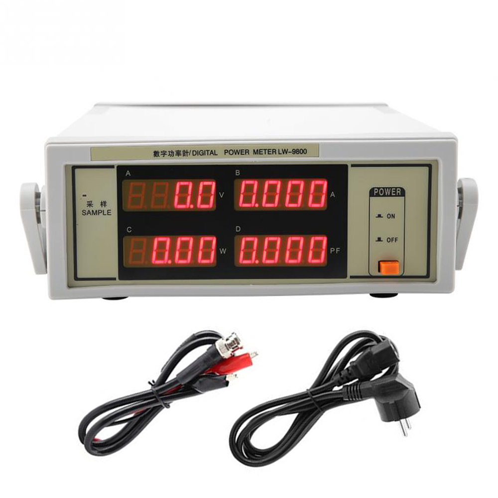 LW-9800 Digital Power Meter Smart Electricity Measuring Instrument BNC Connect Cable AC100-240V 600V 20A Power Supply Tester
