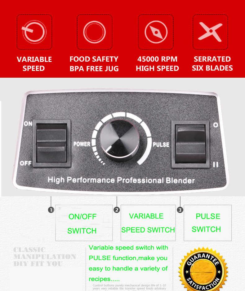 3HP 43000 rpm 2L BPA livre casa de alta potência Profissional bar liquidificador misturador máquina do smoothie liquidificador processador de alimentos juicer