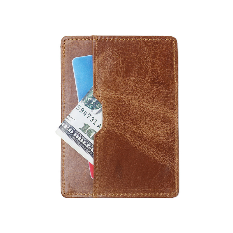 GUBINTU Foreign Trade ID Holders Antimagnetic Cowhide RFID Card Package Ultrathin Genuine Leather Brwon Bank Card Sets Wallet
