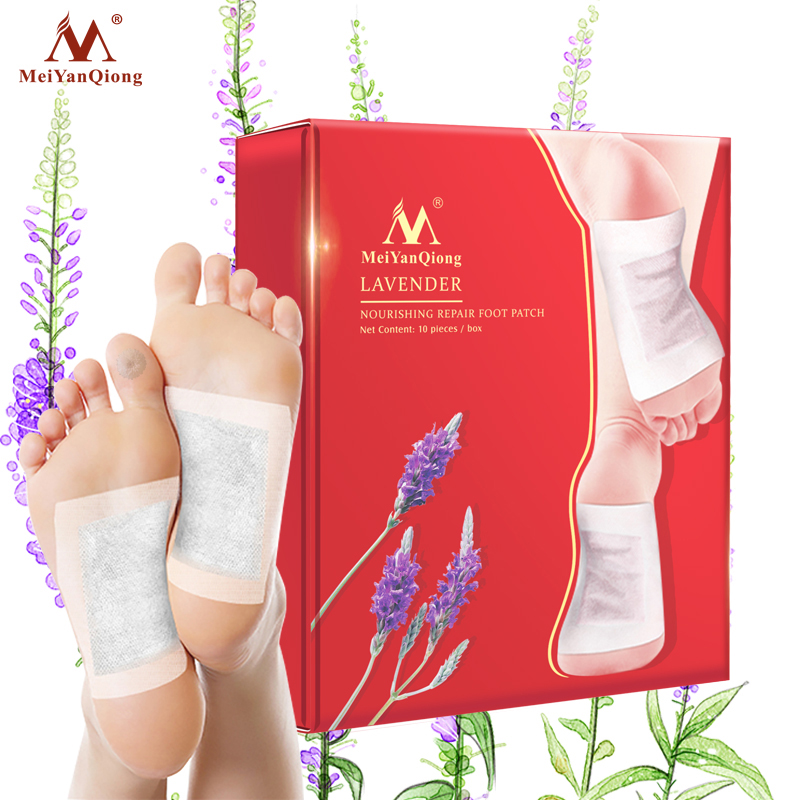 1 Box MeiYanQiong Lavender Detox Foot Patches Pads Slimming body foot Patches meiyanqiong 20pcs lot detox foot patches pads nourishing repair foot patch improve sleep quality slimming patch loss weight care