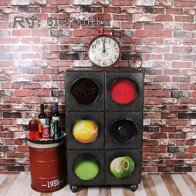 Vintage American country to do the old multi-bucket cabinet creative traffic lights cabinet drawer storage cabinets lockers bar
