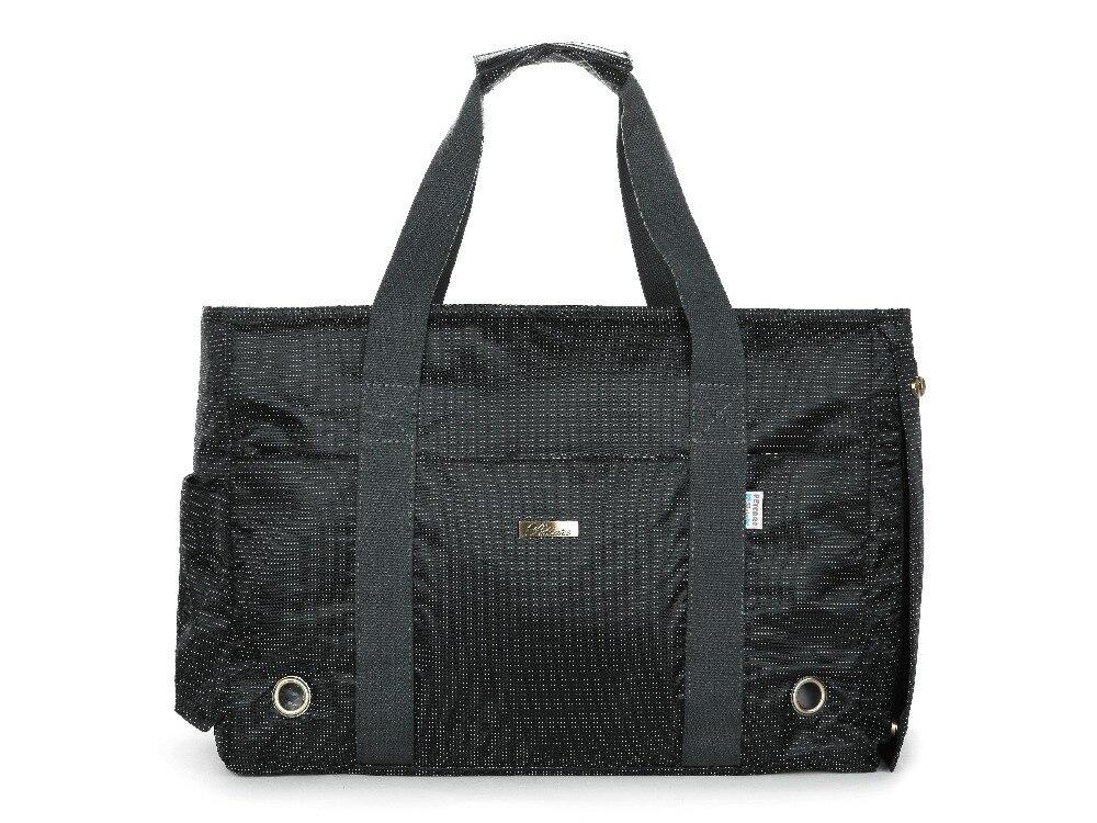 Black Jacquard Nylon Dog Carrier Purse Pet Travel Bag Cat Portable Handbag Soft Sided Tote with