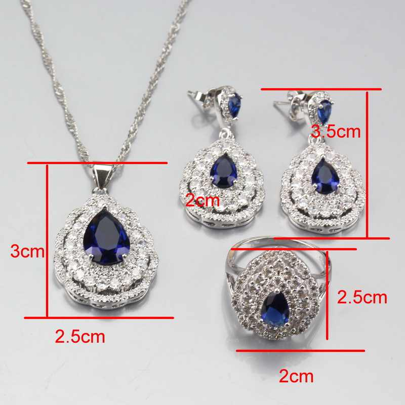 925 Sterling Silver Water Drop Classic Blue Zircon White Austrian Rhinestones Luxurious Fashion Party Jewelry Sets
