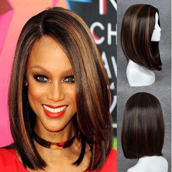 Shoulder Length Long Bob Wigs Synthetic Hair Brown Wigs Blonde
