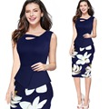 Fioday nueva patchwork oficina de señora woman dress sexy mujeres sin mangas bodycon dress casual floral print dress