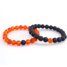 Women Natural Red Sardonyx Stone % Black Matte Stone Bead Bracelets Couples Distance Charm Round Bead Jewelry Best Friends Gift(China)