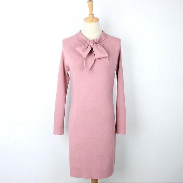 2017 New Autumn And Winter Long Sleeve Dresses Pink Black Bow Sweet Sweater Dress Women Korean Knitted Sweater Casual Pullovrs
