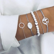 5Pcs/Set Retro Map Beach Bracelet Sets Heart Love Bead Round Gem Leather Chain Silver Personality Girl Christmas Gift