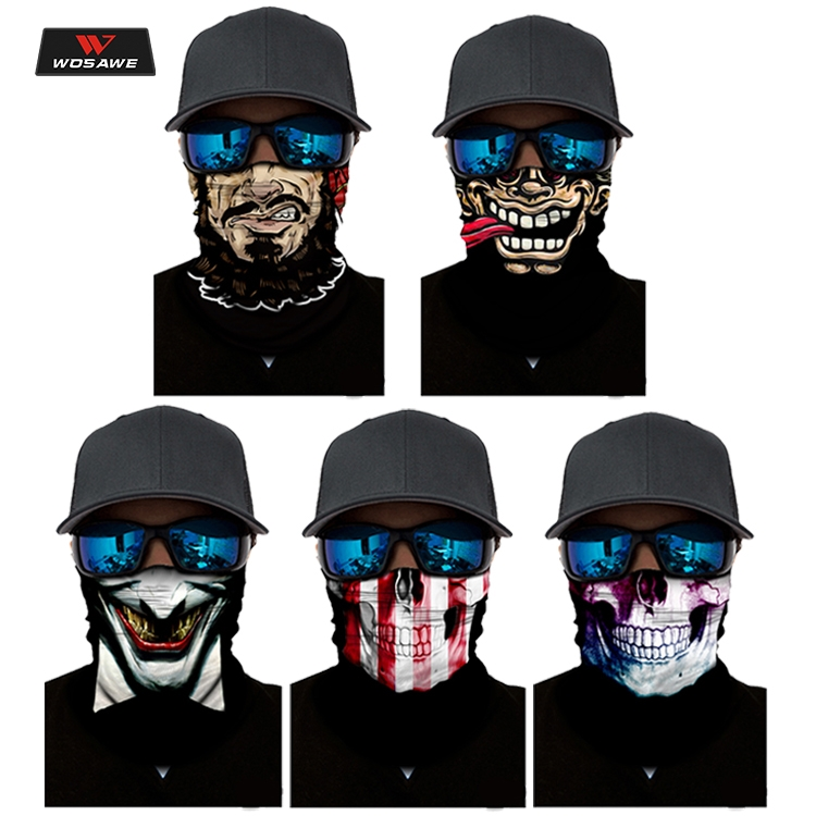 WOSAWE Motorcycle Face Mask Moto Balaclava Skull Mask Motor Scarf Halloween Panuelos Para Moto Face Shield Neck Warmer Headwear