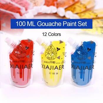 12 Colors 100ML Gouache Paint Set Professional Drawing Pigment Acuarelas for Art Student Painting Supplies Watercolor Paints