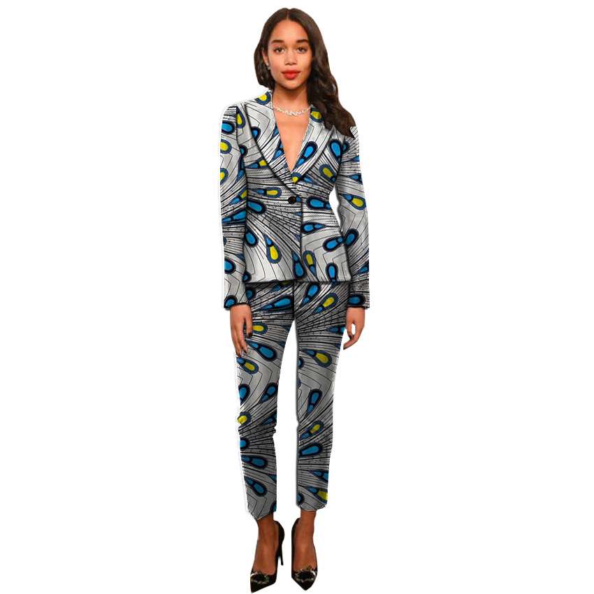 Ankara Suits Fashion African Print Women Blazers With Trousers Set Clothing Ladies Pant Suits Custom Dashiki Suits For Ladies