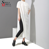 2018 Korean Style Women Summer Top Plus Size White Casual Long Shirt Short Sleeve Split Ladies