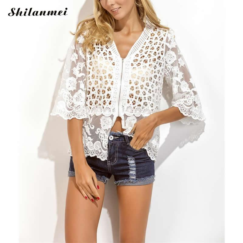 Milky Way Apparel Store Beach Cover Ups hollow embroider patchwork white shirt v neck with zipper 2017 sexy summer ladies beachwear half sleeve mujer
