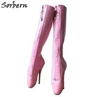 Sorbern балетные костюмы острый носок сапоги и ботинки для девочек для женщин Высокие каблуки Фетиш Pinup балетные костюмы обувь на каблукезапир