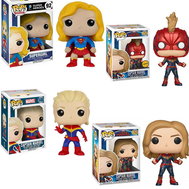 FUNKO POP New Movie Avengers 4: Endgame Marvel Captain & Supergirl PVC Action Figure Collection Model Toys For Children Gift Car phone