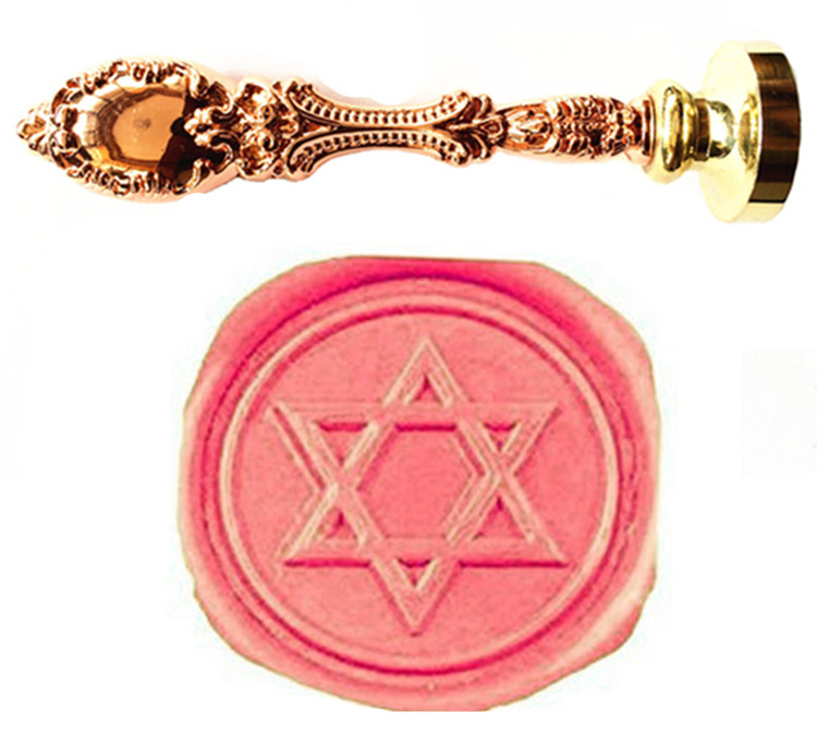 Vintage Star of David Hexagonal Custom Picture Logo Luxury Wax Seal Sealing Stamp Brass Peacock Metal Handle Gift Set david c fischetti structural investigation of historic buildings