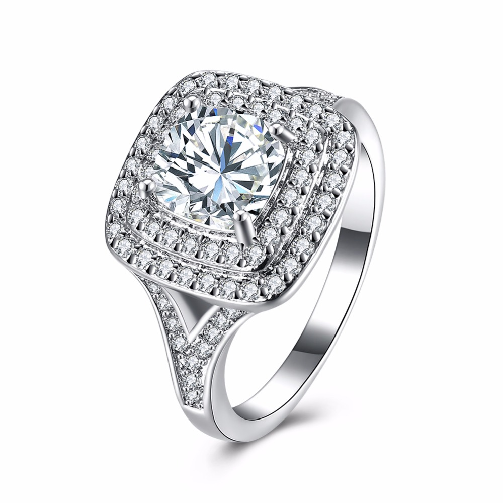 Silver Color Big Square Crystal Rings For Women Wedding Engagement  Jewelry(china (mainland)