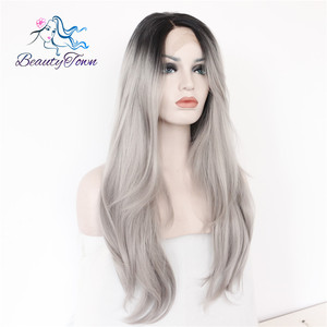 Image 4 - BeautyTown L Lace Part Handmade Black Ombre Grey Heat Resistant Hair Salon Party Women Daily Makeup Synthetic Lace Front Wigs