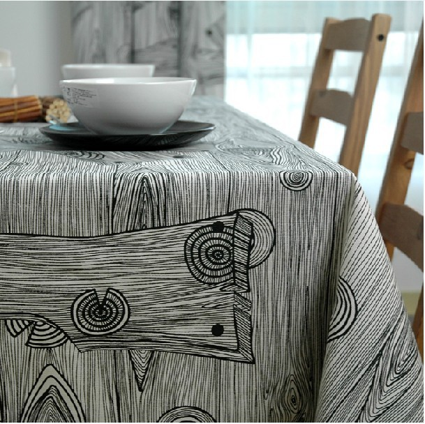 Freeshipping Table cloth tablecloth dining table cloth table mat 100 cotton fabric black and white wood