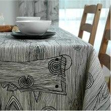 Freeshipping tischdecke tischdecke esstisch tuch tischset 100% baumwolle stoff schwarz und weiß holzmaserung kurze mode