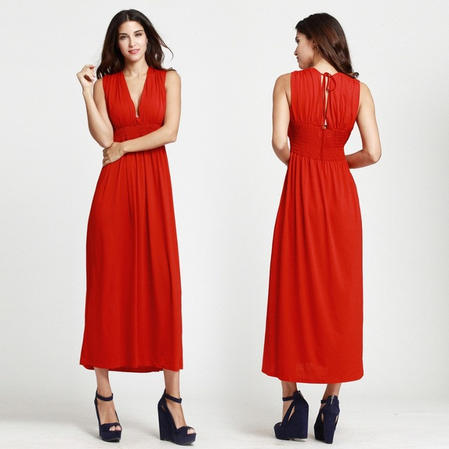 US $32.3 |Plus Size Women Long Red Dress Women Deep V Neck Red Maxi Dress  Elegant Fashion Women Red Party Dress-in Dresses from Women\'s Clothing on  ...