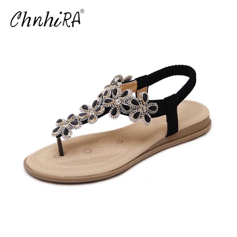 CHNHIRA Bohemia Flip Flops 2017 Casual Gladiator Sandals Slip On Flats Bling Platform Flats Shoes Woman Size 35-41 #CH423 lanshulan bling glitters slippers 2017 summer flip flops platform shoes woman creepers slip on flats casual wedges gold