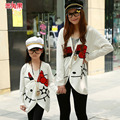 2017 Mother and daughter clothes Family Clothing set kitty cat fashion cardigan long-sleeved jackets Family Matching Outfits