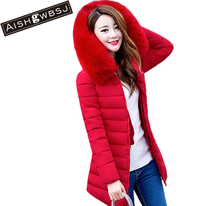 AISHGWBSJ Winter Jacket Women 2017 New Thicker Warm Coats Hooded Female jacket Cotton Coat Parkas With Fur Collar PL153 aishgwbsj winter women jacket 2017 new hooded female cotton coats padded fur collar parkas plus size overcoats pl155