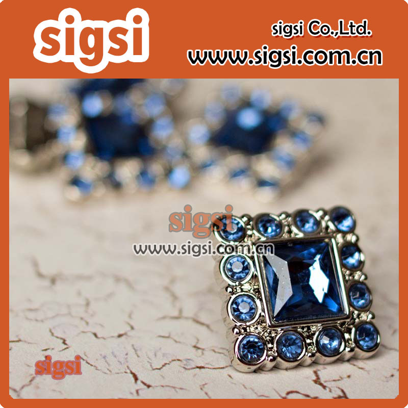 High quality square dazzling blue crystal acrylic rhinestone button for decoration