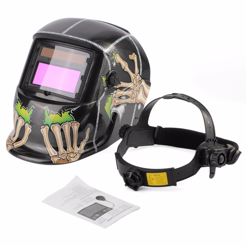 Solar Powered Auto-darkening Welding Helmet Welding Face Mask Arc Tig Mig Mask Grinding Welding Mask Skull Pattern Wholesales 2x 50 60 70 80 90 100mm cob angel eye led drl chip car motorcycle light super bright waterproof auto headlight car light source