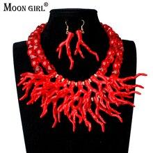 Moon Girl дизайн свадебные искусственные коралловые ювелирные наборы модные африканские бусы Набор Ювелирных изделий колье ожерелье для женщин