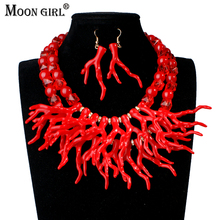 Moon Girl Design Bridal Wedding Artificial Coral Jewelry Sets Fashion African Beads Jewelry Set 2017 Choker Necklace for women fashion orange red artificial coral necklace nigerian wedding african beads jewelry set for women acb 06