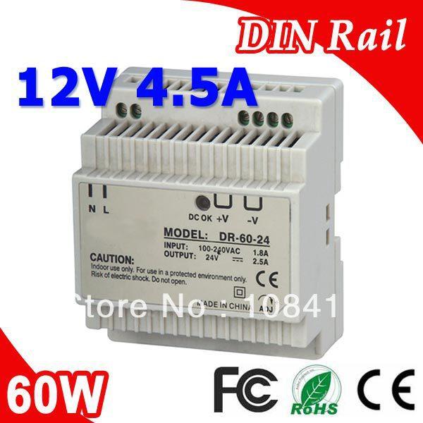 DR-60-12 LED Din Rail mount Power Supply Transformer DC 12V 4.5A Output SMPS dr 75 48 led single output din rail switching power supplies transformer dc 48v 1 6a output smps