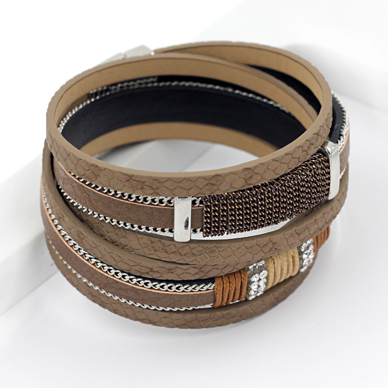 2016 New Arrivals Multilayer Windings Leather Bangle font b Bracelet b font Fashion Snake Texture Leather