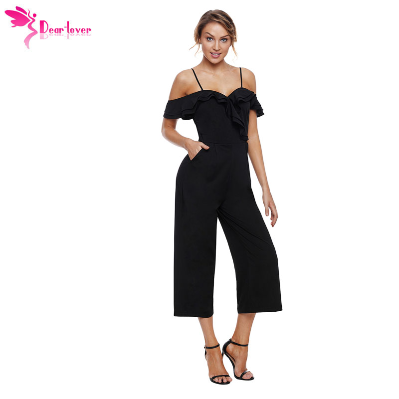 Dear Lover Jumpsuit Long 2018 Summer Womens Ankle-Length Pant Black Ruffle Neckline Straps Wide Leg Rompers with Pockets LC64390