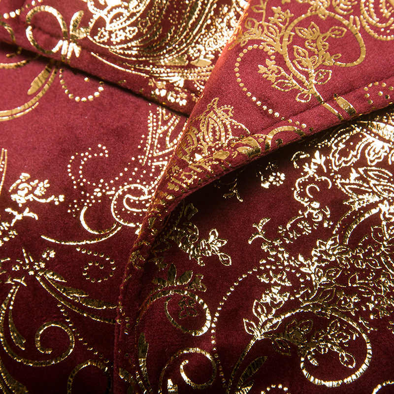 Роскошные золотые одежда с узором Блейзер Для мужчин 2018 осень новый двубортный смокинг для свадьбы куртка этап певица Пром костюм Homme