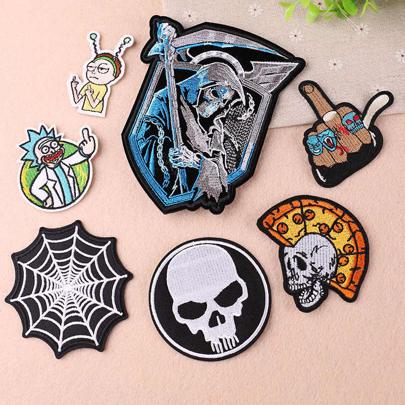 Interesting DIY Grim Reaper Skeleton Embroidery Parches Iron on Patches for Clothing Stripes Clothes Stickers Appliques Badges