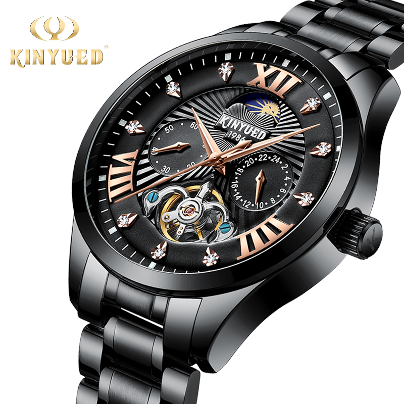 KINYUED Бизнес Роскошные часы Скелет Для мужчин Нержавеющаясталь Diamond Moon Phase лучшие механические часы автоматический мужской наручные Homme
