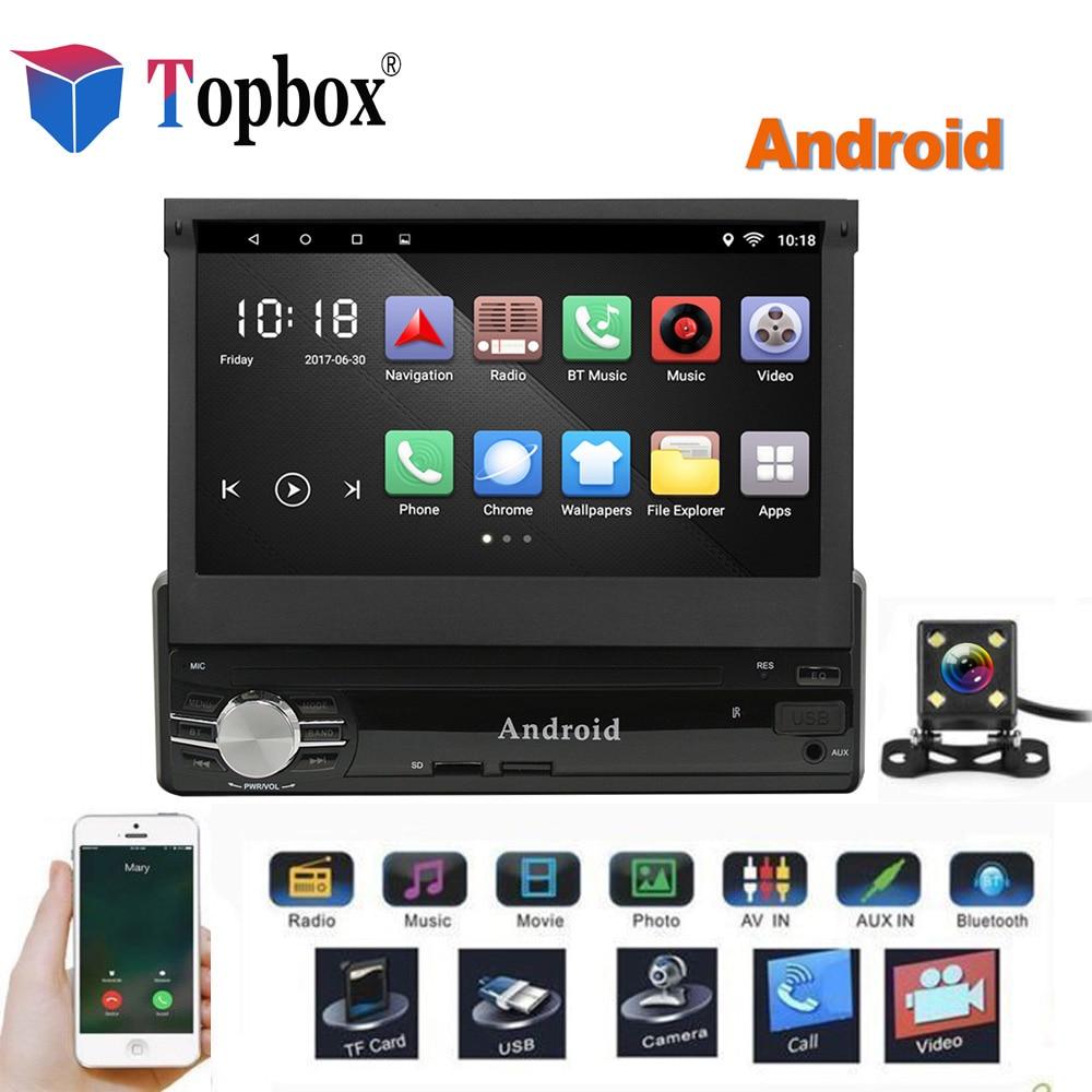 Topbox 1Din Android Voiture Multimédia 7 Quad Core 6.0 Car Styling 1 din Autoradio GPS WIfi Voiture Lecteur Audio bluetooth Avec Caméra